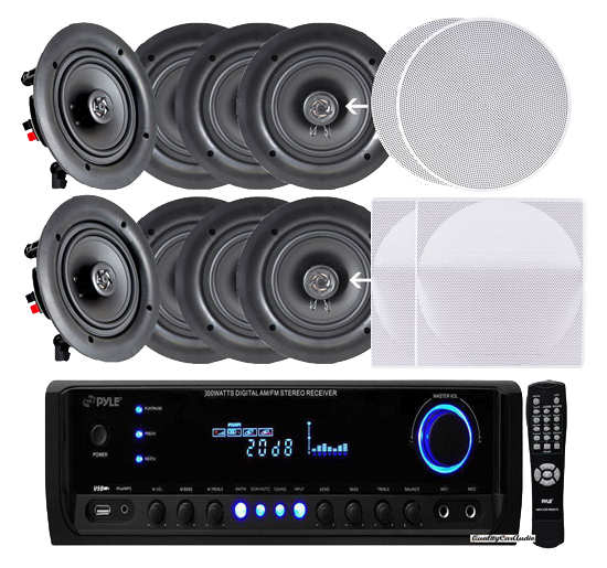 4-Pairs-of-150W-525-in-wall--in-ceiling-stereo-white-speakers-w-300w-digital-home-stereo-receiver-w-usbsdaux-input,-remote-w-4-channel-high-power-stereo-speaker-selector,-4-volume-controls-and-250-ft-wire