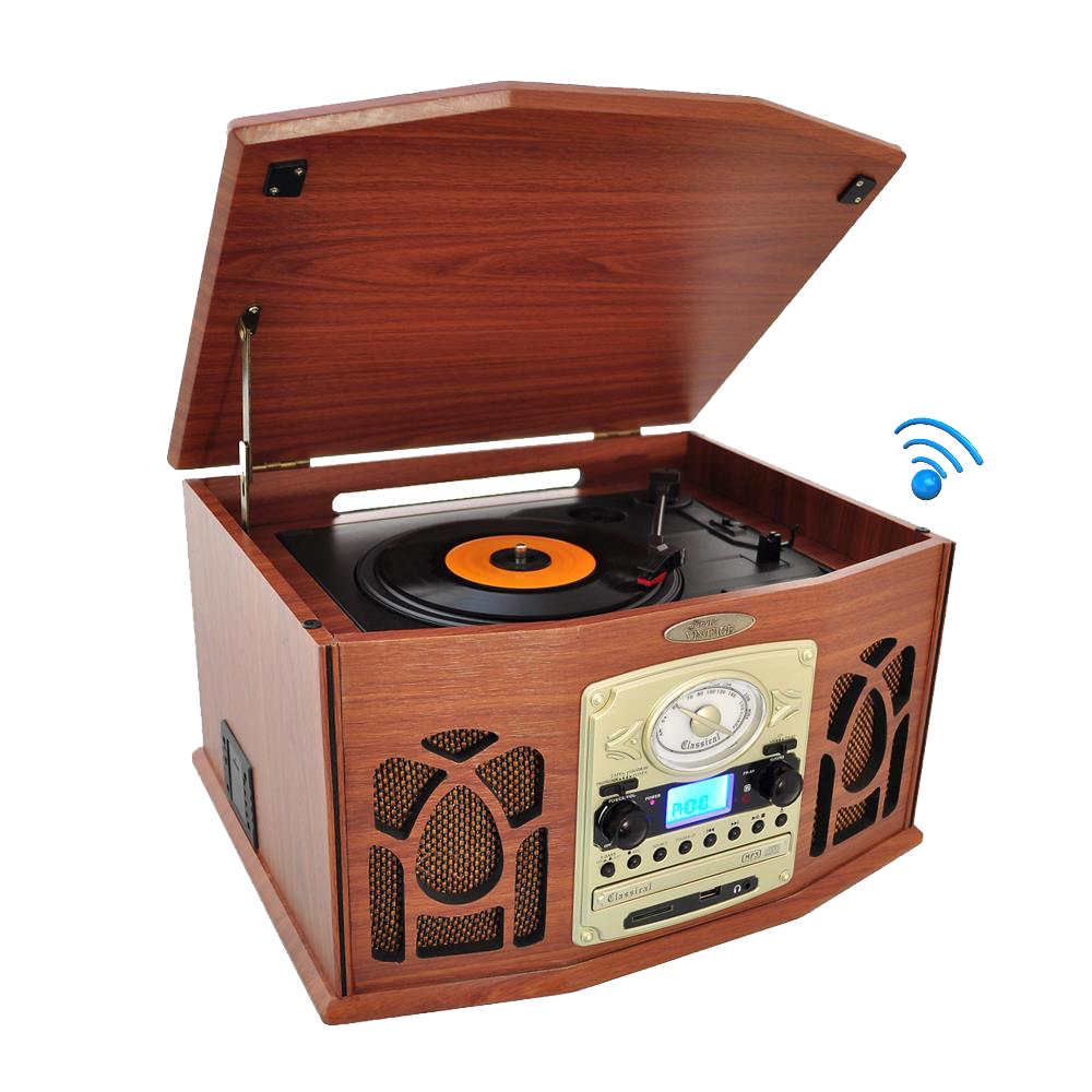 Vintage-Classic-Style-Bluetooth-Turntable-Record-Player-with-Vinyl-to-MP3-Recording-Ability,-CD-Player,-AMFM-Radio